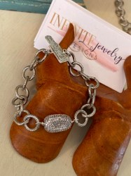 Chunky Silver with Pave Bead Bracelet26