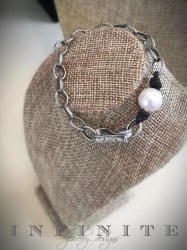 Single Pearl Pewter Bracelet